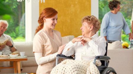 caregiver and senior woman